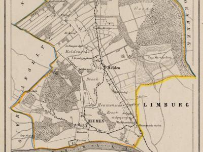 Gemeente Heumen anno ca. 1870, kaart J. Kuijper