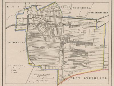 Gemeente Hoogeveen anno ca. 1870, kaart J. Kuijper (collectie www.atlasenkaart.nl)