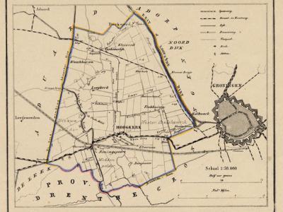 Gemeente Hoogkerk anno ca. 1870, kaart J. Kuijper (collectie www.atlasenkaart.nl)