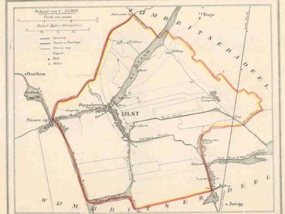 Gemeente IJlst anno ca. 1870, kaart J. Kuijper (collectie www.atlasenkaart.nl)