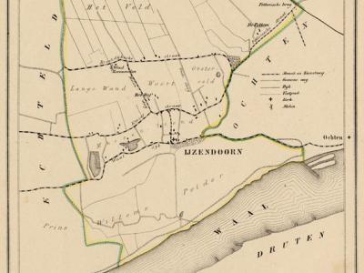 Gemeente IJzendoorn anno ca. 1870, kaart J. Kuijper