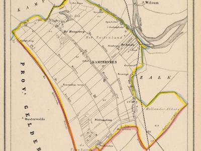 Gemeente Kamperveen anno ca. 1870, kaart J. Kuijper (collectie www.atlasenkaart.nl)