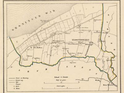 Gemeente Kloosterburen anno ca. 1870, kaart J. Kuijper (collectie www.atlasenkaart.nl)