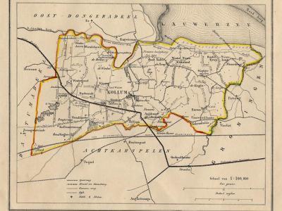 Gemeente Kollumerland en Nieuwkruisland anno ca. 1870, kaart J. Kuijper (collectie www.atlasenkaart.nl)