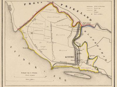 Gemeente Kuinre anno ca. 1870, kaart J. Kuijper (collectie www.atlasenkaart.nl)