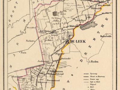 Gemeente Leek anno ca. 1870, kaart J. Kuijper (collectie www.atlasenkaart.nl)