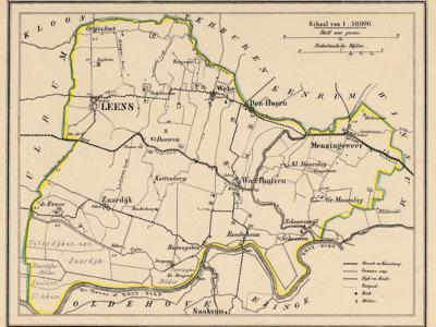Gemeente Leens anno ca. 1870, kaart J. Kuijper (collectie www.atlasenkaart.nl)