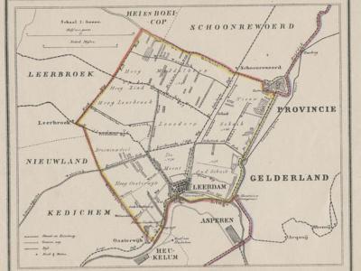 Gemeente Leerdam anno ca. 1870, kaart J. Kuijper. Tot 1986 omvat de gemeente Leerdam slechts de gelijknamige stad plus enkele buurtschappen. Pas in 1986 komen de gemeenten Schoonrewoerd en Kedichem (met Oosterwijk) erbij. (collectie www.atlasenkaart.nl)