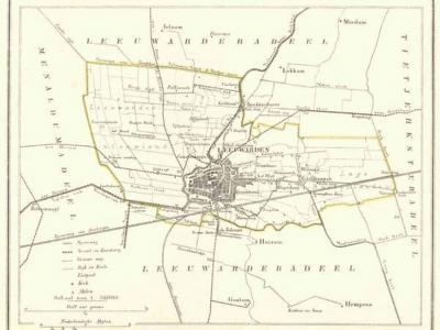 Gemeente Leeuwarden anno ca. 1870, kaart J. Kuijper (collectie www.atlasenkaart.nl)