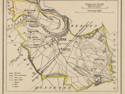Gemeente Linne anno ca. 1870, kaart J. Kuijper (collectie www.atlasenkaart.nl)
