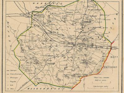 Gemeente Lonneker anno ca. 1870, kaart J. Kuijper (collectie www.atlasenkaart.nl)