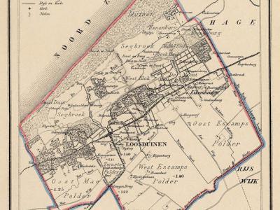Gemeente Loosduinen in ca. 1870, kaart J. Kuijper. Loosduinen was qua grondgebied een vrij grote gemeente, die op hoofdlijnen ook de huidige stadsdelen Escamp en Segbroek omvatte. (collectie www.atlasenkaart.nl)