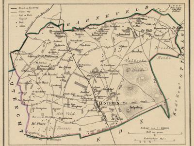Kaart van de in 1818 opgeheven gemeente Lunteren, situatie anno ca. 1870, kaart J. Kuijper (collectie www.atlasenkaart.nl)