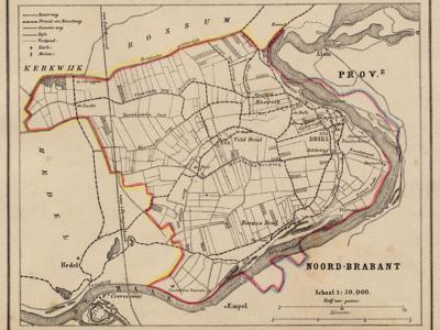 Gemeente Maasdriel (toen nog Driel geheten) anno ca. 1870, kaart J. Kuijper