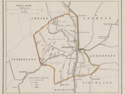 Gemeente Meerkerk anno ca. 1870, kaart J. Kuijper (collectie www.atlasenkaart.nl)