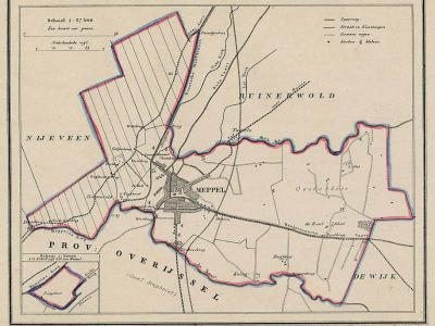 Gemeente Meppel anno ca. 1870, kaart J. Kuijper (collectie www.atlasenkaart.nl)