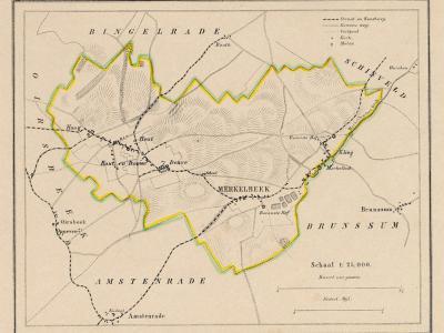 Gemeente Merkelbeek anno ca. 1870, kaart J. Kuijper (collectie www.atlasenkaart.nl)