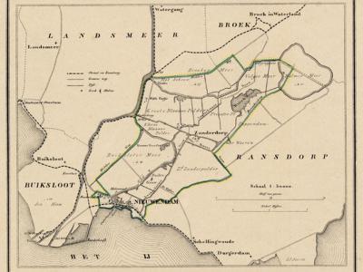 Gemeente Nieuwendam anno ca. 1870, kaart J. Kuijper (collectie www.atlasenkaart.nl)