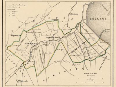 Gemeente Nieuwolda anno ca. 1870, kaart J. Kuijper (collectie www.atlasenkaart.nl)
