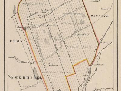 Gemeente Nijeveen anno ca. 1870, kaart J. Kuijper (collectie www.atlasenkaart.nl)