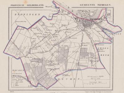Gemeente Nijmegen anno ca. 1870, kaart J. Kuijper