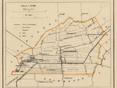 Gemeente Noordbroek anno ca. 1870, kaart J. Kuijper (collectie www.atlasenkaart.nl)