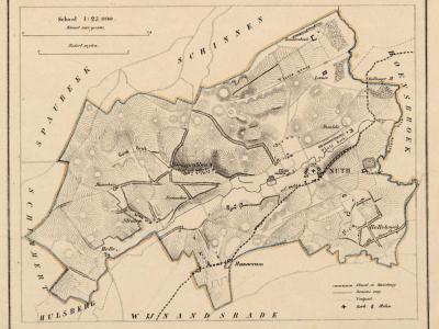 Gemeente Nuth anno ca. 1870, kaart J. Kuijper (collectie www.atlasenkaart.nl)