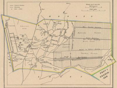 Gemeente Odoorn anno ca. 1870, kaart J. Kuijper. Goed te zien is dat de venen van het Drentse-Mondengebied nog volop in ontginning zijn. Exloërveen, 1e en 2e Exloërmond en 1e en 2e Valthermond bestaan nog niet. Alleen het dorpje Zandberg is er al wel.