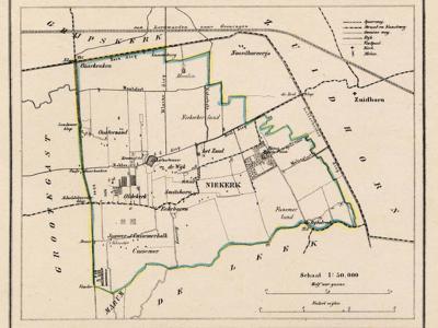 Gemeente Oldekerk anno ca. 1870, kaart J. Kuijper (collectie www.atlasenkaart.nl)