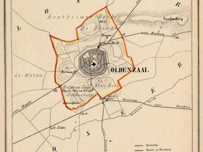 Gemeente Oldenzaal anno ca. 1870, kaart J. Kuijper (collectie www.atlasenkaart.nl)