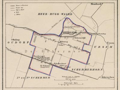Gemeente Oterleek anno ca. 1870, kaart J. Kuijper (collectie www.atlasenkaart.nl)