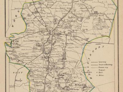 Gemeente Raalte anno ca. 1870, kaart J. Kuijper (collectie www.atlasenkaart.nl)