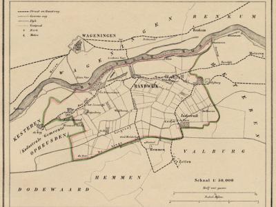 Kaart van de begin 19e eeuw opgeheven gemeente Randwijk, situatie anno ca. 1870, kaart J. Kuijper