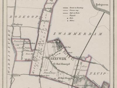 Het nogal grillige grensverloop van de gemeente Reeuwijk, vlak voor de annexatie van de gemeente Sluipwijk in 1870