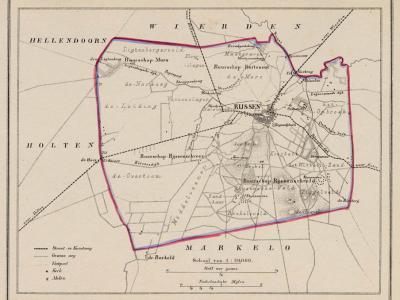Gemeente Rijssen anno ca. 1870, kaart J. Kuijper (collectie www.atlasenkaart.nl)