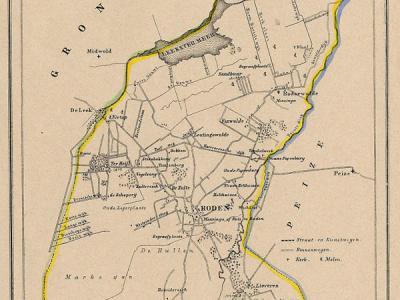 Gemeente Roden anno ca. 1870, kaart J. Kuijper (collectie www.atlasenkaart.nl)