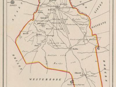 Gemeente Rolde anno ca. 1870, kaart J. Kuijper (collectie www.atlasenkaart.nl)