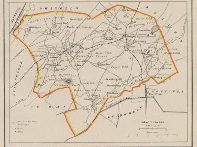 Gemeente Ruinen anno ca. 1870, kaart J. Kuijper (collectie www.atlasenkaart.nl)
