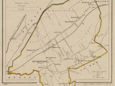 Gemeente Ruinerwold anno ca. 1870, kaart J. Kuijper (collectie www.atlasenkaart.nl)