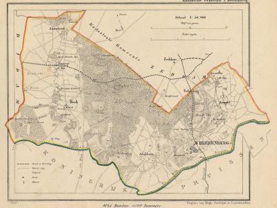 Kaart van de in 1821 opgeheven gemeente 's-Heerenberg, situatie anno ca. 1870, kaart J. Kuijper