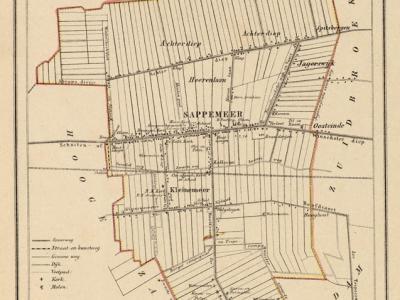 Gemeente Sappemeer anno ca. 1870, kaart J. Kuijper (collectie www.atlasenkaart.nl)