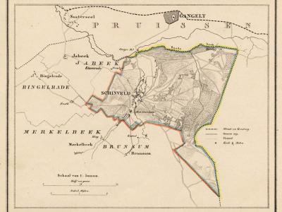 Gemeente Schinveld anno ca. 1870, kaart J. Kuijper (collectie www.atlasenkaart.nl)