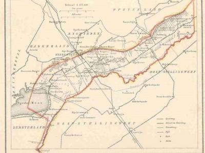 Gemeente Schoterland anno ca. 1870, kaart J. Kuijper (collectie www.atlasenkaart.nl)
