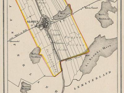 Gemeente Sloten anno ca. 1870, kaart J. Kuijper (collectie www.atlasenkaart.nl)