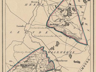 Gemeente Soerendonk, Sterksel en Gastel anno ca. 1870, kaart J. Kuijper. Opmerkelijk is dat dit twee los van elkaar gelegen gebieden waren, met in dit geval de gemeente Maarheeze er nog tussen. Dat kwam en komt in ons land zelden voor.