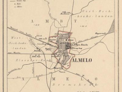 Gemeente Stad Almelo anno ca. 1870, kaart J. Kuijper (collectie www.atlasenkaart.nl)