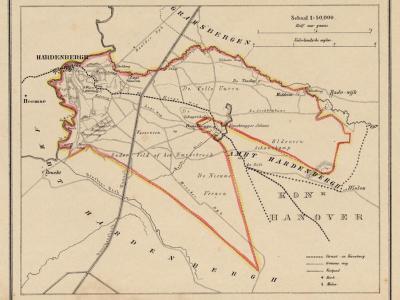Gemeente Stad Hardenberg anno ca. 1870, kaart J. Kuijper (collectie www.atlasenkaart.nl)