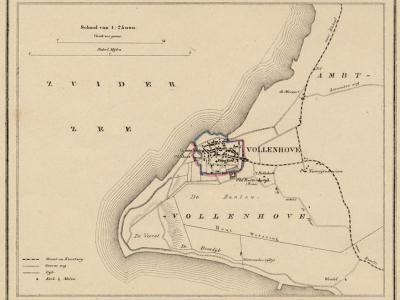 Gemeente Stad Vollenhove anno ca. 1870, kaart J. Kuijper (collectie www.atlasenkaart.nl)