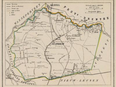 Gemeente Staphorst anno ca. 1870, kaart J. Kuijper (collectie www.atlasenkaart.nl)