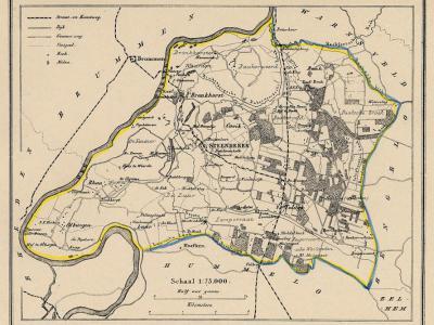 Gemeente Steenderen anno ca. 1870, kaart J. Kuijper